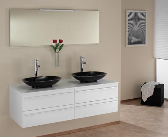 ital badm bel doppel glas waschtisch sari hochglanz neu ebay. Black Bedroom Furniture Sets. Home Design Ideas