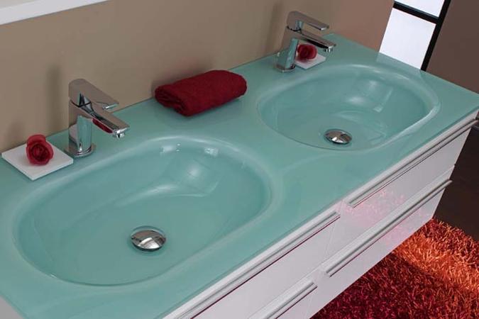 ital badm bel doppel glas waschtisch sari aquamarin neu ebay. Black Bedroom Furniture Sets. Home Design Ideas