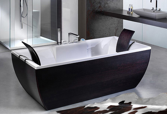 italienische design badewanne wenge holz freistehend ebay. Black Bedroom Furniture Sets. Home Design Ideas