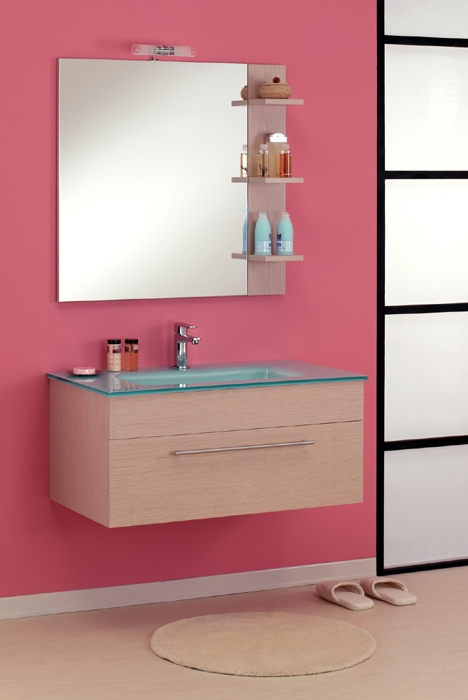 ital glas waschtisch badm bel set modern holz regal neu ebay. Black Bedroom Furniture Sets. Home Design Ideas