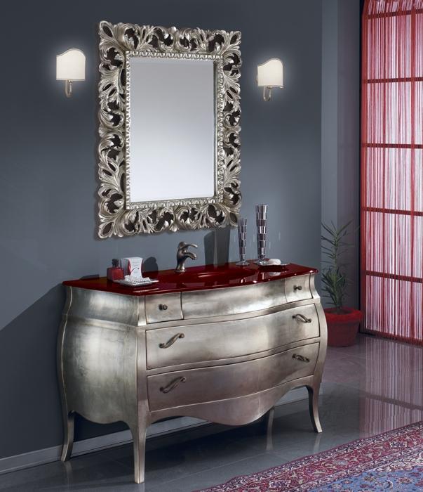italien waschtisch badmöbel barock spiegel silber neu | ebay, Hause ideen